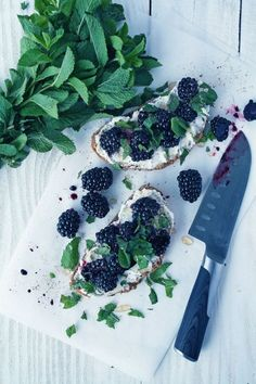 mulberry mint ricotta bruschetta