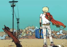 Battling Boy faces Arcopolis, by Paul Pope.