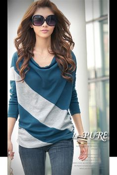 Long Dloman Sleeve Color Contrasting Cowl Neck Women T-shirt - BuyTrends.com
