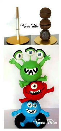 Little Monsters - Cake by Verusca Walker - CakesDecor Gravity Defying Cake, Gravity Cake, Fondant Cakes, Cupcake Cakes, Fondant Bow, Car Cakes, Fondant Flowers, Fondant Figures, 3d Cake Tutorial