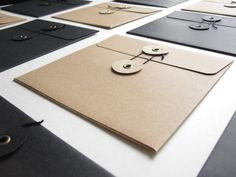 Set of 12 String & Button Kraft Envelopes  Light by woocooideas
