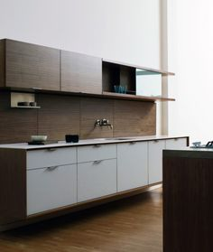 Shelving, White Door & Fixture Placement and Kitchen Color Theme - Floating Cabinets, Minimal, Corner Shelves, Two Tone Cabinets & White Cabinets Modern Kitchen Cupboards, Kitchen Cupboard Handles, Kitchen Cabinet Hardware, Modern Kitchen Design, Cabinet Doors, Walnut Kitchen, Bathroom Cabinets, Kitchen Ideas, Bathroom Vinyl