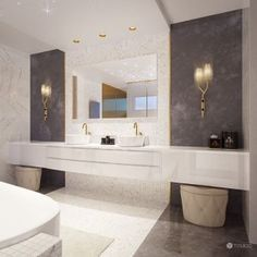 Interior design of this residence reflects the fusion of creamy tones and elements of glamour and exclusivity of the Arab world. Interiores Design, Modern Bathroom, Double Vanity, Glamour, Mirror, House, Furniture, Designer, Home Decor