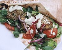 Chickpea and Kidney Bean Falafels with Tahini Sauce and Lebanese Salad