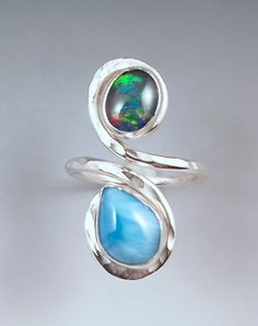 Opal and Larimar Hammered Sterling Silver Swirl by RedPaw on Etsy, $149.00