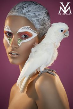 """Artistic Cockatoo inspired fantasy make-up look accented with rhinestones titled """"Birds of a Feather"""" by Yulia Moshkariova."""