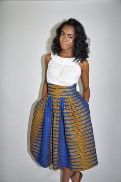 African Print Skirt The Madison Midi Skirt by CHENBURKETTNY, $109.00