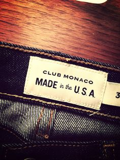 Club Monaco, Made in the USA denim.