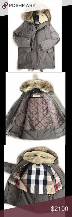 NWOT - MEN'S BURBERRY BRIT FUR TRIM HOODED PARKA Burberry Brit Detachable Real Fur Trim Hooded Winter Parka  Detachable internal jacket that can be worn as a windbreaker in warmer weather Fully lined hoodie A heavy weight weather proof waterproof great winter coat Never worn-NWOT-Flawless Burberry Jackets & Coats