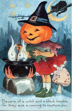 vintage postcard halloween witch jack o'lantern black cat cauldron