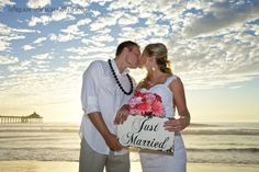 Bride and groom have just been married. Congratulations by the Dream Beach Wedding family.