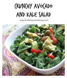 This Crunchy Avocado Kale Salad is perfect for getting you back on track for that productive week ahead.  The avocado and kale fusion is loaded with vital nutrients.