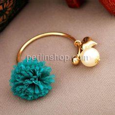 Zinklegierung Armreif, mit Chiffon & Kunststoff Perlen, goldfarben plattiert, blau, frei von Nickel, Blei & Kadmium, 17x16mmuff0c16mm, Innendurchmesser:ca. 60mm, Länge:ca. 7.4 Inch, verkauft von Gruppe - perlinshop.com