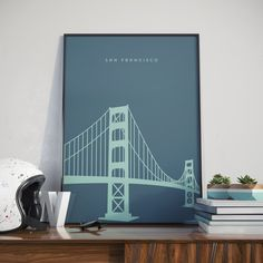 Golden Gate Bridge, San Francisco, Sea Blue Edition. Print. Poster. Vintage modern design. Want to give your room a buzz? Or just a nice gift? This