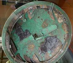 The 'Vatican' shield, located in the Museo Gregoriano in Rome. Etruscan made, of Greek design, it is three layers of bronze, wood, and leather respectively.