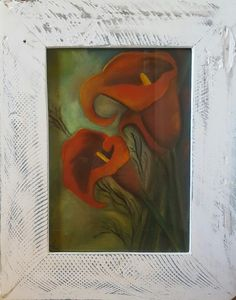 Buy FRAMED - Red Arum Lily- Painting with watercolours and soft Pastels Solid wood Frame included for Watercolours, Watercolor Paintings, Lily Painting, Soft Pastels, Buy Frames, Solid Wood, Artist, Red, Water Colors