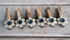 Primitive Black Button & Burlap Flower Rustic Aged Wooden Clothespins - Set of 6 - Shabby Chic Clips - Photo Clips - Decor Hangers by ChicBurlapBoutique