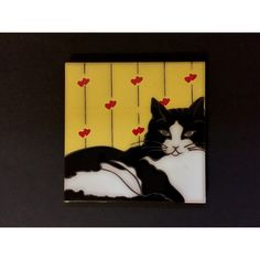 Santa Fe Art Tile Cat with Hearts ($25) ❤ liked on Polyvore featuring home, home decor, vintage home accessories, valentines day home decor, red black and white home decor, vintage home decor and yellow home accessories