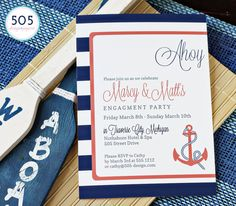Nautical Engagement Invitation  Printable or Printed by 505design
