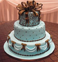 brown and blue wedding | Tiffany blue square wedding cake in the shape of presents with brown ...