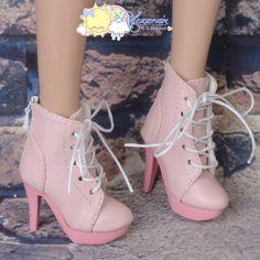 """Doll Shoes High-Heel Platform Lace-Up Ankle Boots Pink for 22"""" Tonner American Model, Evangeline Ghastly, High Heel Narae Dolls"""