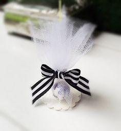 Seed Bomb Favors White Wedding Favors Tulle Wrapped 50 Sophisticated Black White Favors Gardening