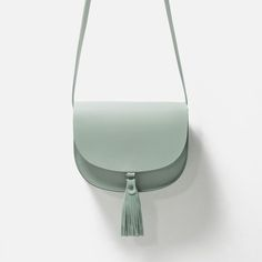 Image 1 of LEATHER MESSENGER BAG WITH TASSELS from Zara