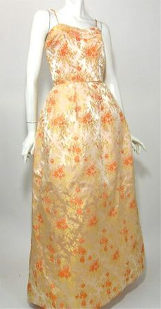Peach and Gold Metallic Floral Satin Evening Gown circa 1960s - Dorothea's Closet Vintage