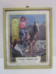 Vintage Western Cowgirl Advertising Thermometer Killian's Furniture Reading PA | eBay