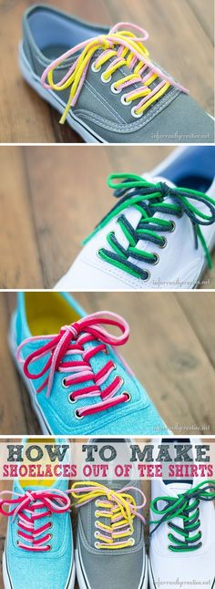 Learn to make shoelaces from t-shirt yarn at http://TidyMom.net This is especially fun to show off school colors or to coordinate your shoelaces with a certain outfit.