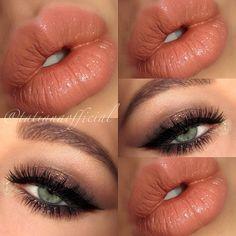 Neutral Medium Brown Shimmer Eye Makeup - Winged Eyeliner - Lashes - Green Eyes - Peach Lips