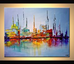 Original abstract art paintings by Osnat - city lights painting modern abstract art palette knife