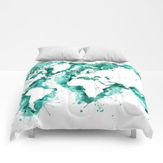 Ocean texture map duvet cover decorative bedding world map bedding watercolor splatters world map in teal comforters gumiabroncs Gallery