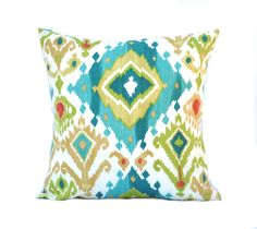 1 Ikat blue green red patterned pillow cover, cushion, decorative throw pillow, decorative pillow, accent pillow, blue pillow, pillow case by ThatDutchGirlPillows on Etsy