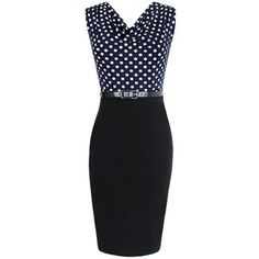 Navy Blue Ladies Polka Dot Patchwork Midi Dresses with Sash