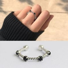 925 Silver Black Agate Vintage Rings Gifts Women Fashion Jewelry Open Adjustable