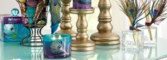 Pier 1 Peacock Candlescape.....love the enchanted paradise fragrance collection