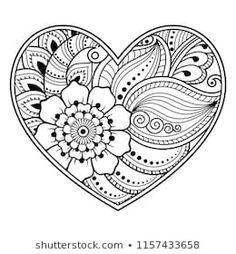 Mehndi Flower Pattern Form Heart Lotus Stock Vector (Royalty Free) 1157433658 Mehndi flower pattern in form of heart with lotus for Henna drawing and tattoo. Decoration in ethnic oriental, Indian style. Coloring book page. Heart Coloring Pages, Pattern Coloring Pages, Printable Adult Coloring Pages, Flower Coloring Pages, Mandala Coloring Pages, Coloring Books, Colouring, Lotus Drawing, Mandala Drawing