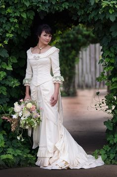 Victorian reproduction wedding dress by Christine Hall.