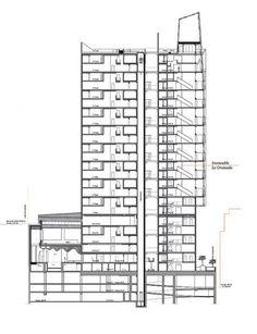 El proyecto es ambicioso: pretende ofrecer un estudio en la tipología de la vivienda y, más allá del propio edificio, un análisis de la estructura urbana y una respuesta a la cuestión de la densificación de la ciudad. || Sección