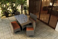 Forever Patio Hampton 5 Piece Wicker Outdoor Dining Set with Burnt Orange Sunbrella Cushions SKU FPHAM5DNHTCR * You can find out more details at the link of the image.