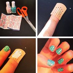 diy easiest polka dot nail art use a band aid Cute Polka Dot Nail Art Tutorial Dot Nail Art, Polka Dot Nails, Nail Art Diy, Easy Nail Art, Diy Nails, Cute Nails, Pretty Nails, Polka Dots, Diy Manicure