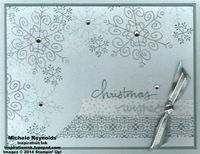 """Handmade Christmas card using Stampin' Up! products - Endless Wishes Photopolymer Set, Iridescent Ice Stampin' Emboss Powder, Rhinestone Basic Jewels, 3/8"""" Silky Taffeta Ribbon, Silver 1/8"""" Ribbon, and All Is Calm Designer Washi Tape.  By Michele Reynolds, Inspiration Ink, http://inspirationink.typepad.com/inspiration-ink/2014/09/endless-wishes-snowflake-collage.html."""