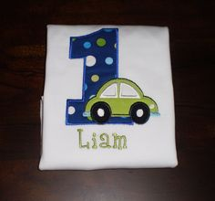 Boy's Car Birthday Shirt, Numbers 1-9 available. $24.00, via Etsy.