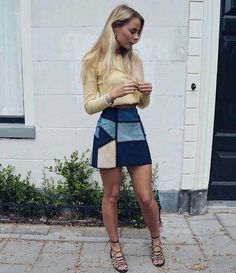 Cute suede patchwork skirt