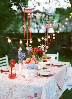 Use old quilts as tablecloths for a party.