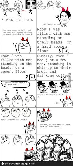 3 men in hell funny rage comic | Funny weird viral pics