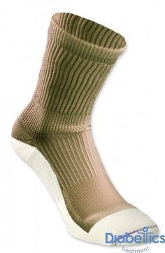 Sockwise - DB156KL - Euros RX Diabetic Crew Socks, Large, Khaki with White