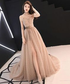Champagne A-line tulle long prom dress champagne evening dress Champagne Evening Dress, Burgundy Evening Dress, Evening Dresses, Prom Dresses, Formal Dresses, Bridesmaid Gowns, Dress Prom, Dress Wedding, Dress Long