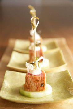 seared oriental tuna with wasabi creme fraiche